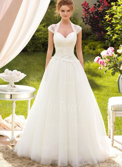 A Line Princess Sweetheart Halter Sweep Train Ruffle Liques Lace Tulle Up Cap Light Dresstulle Wedding