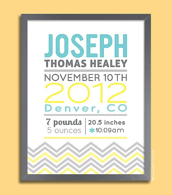 30 best baby name posters images on pinterest baby birth birth personalized baby gift chevron birth print baby birth print baby name birth stats negle Choice Image