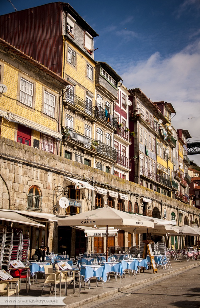 The beautiful Ribeira along Douro River in Oporto