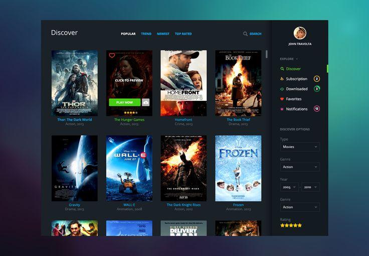 Cinema app dashboard by 1000psd