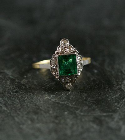 vintage emerald engagement rings | Antique Emerald And Diamond Engagement Ring