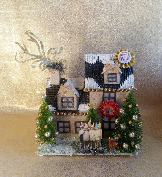 SOLD Custom Orders Welcome! Putz House w/ Adorable Group of Children w/ Hats Decorated Bottle Brush Trees Mercury Glass Ornaments Lights Up!