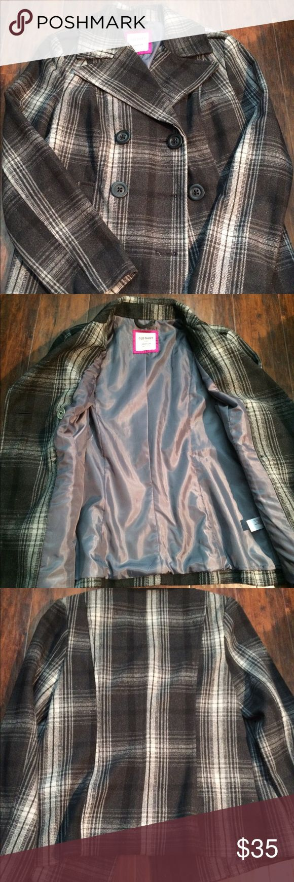 Plaid Pea Coat NWT Cute Old Navy Plaid Peacoat! Looks great dressed up or dressed down. Very versatile jacket! Old Navy Jackets & Coats Pea Coats