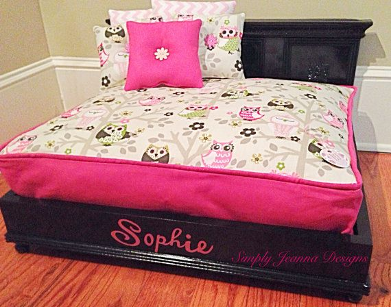 Black Pet Bed-Dog Bed-Cat Bed Owl Hot Pink by SimplyJeanna on Etsy