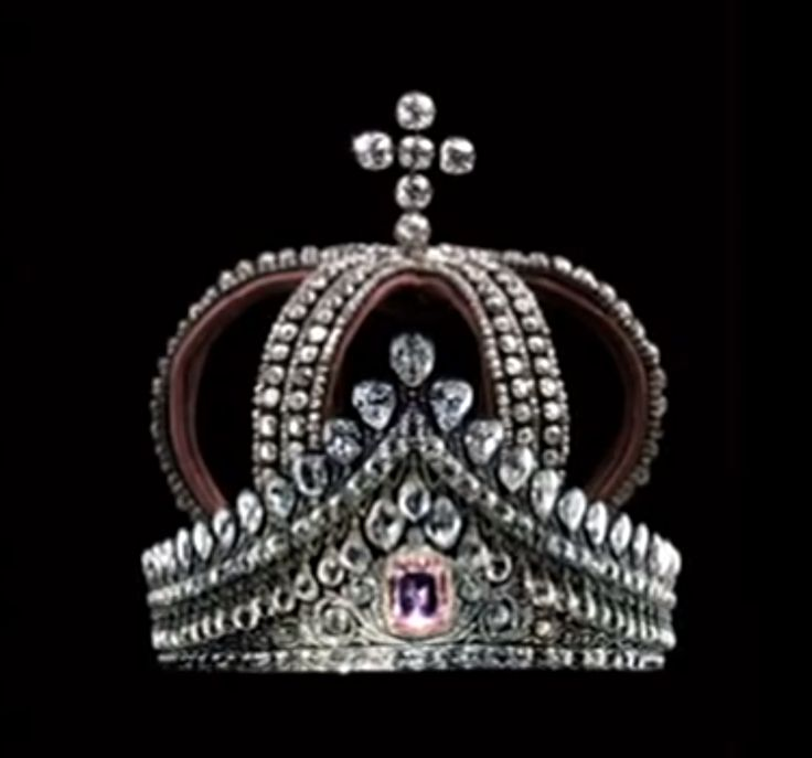 The Imperial Russian nuptial crown by Bolin, which is at the Hillwood Museum in Washington, DC, and the diadem with a large pink diamond. It was worn by all imperial Russian Grand Duchesses on their wedding day.