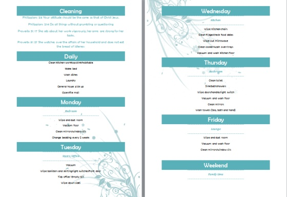 A weekly cleaning rota