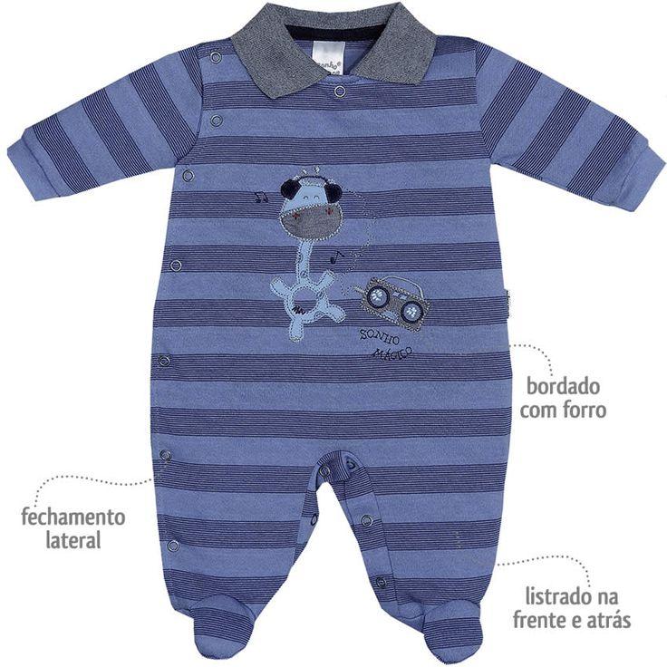 Macacão Listrado para Bebê Menino Azul - Sonho Mágico :: 764 Kids | Roupa bebê e infantil