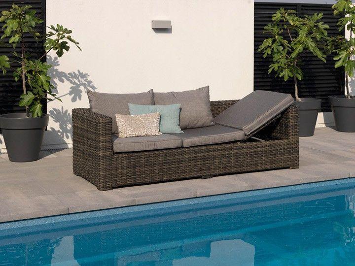 Rimini Lounge Garten Sofa Sitzer Poly Rattan Dunkelgrau Garten Gartenmobel Gartensofa