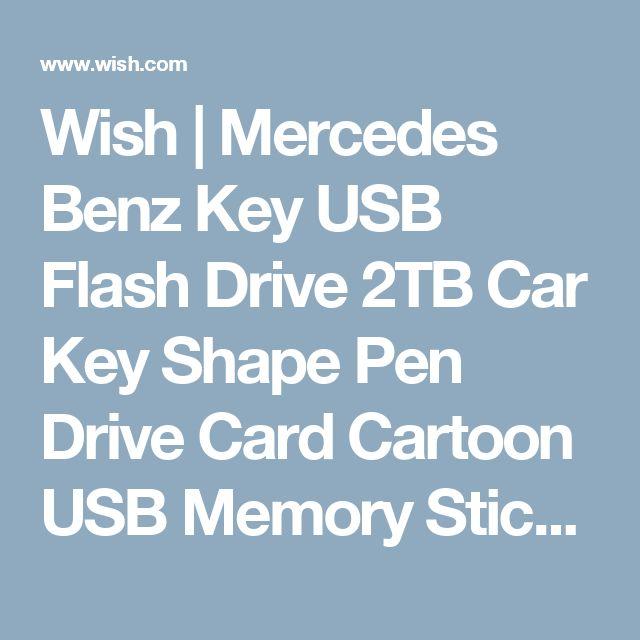 Wish | Mercedes Benz Key USB Flash Drive 2TB Car Key Shape Pen Drive Card Cartoon USB Memory Stick (Farba: Čierna)