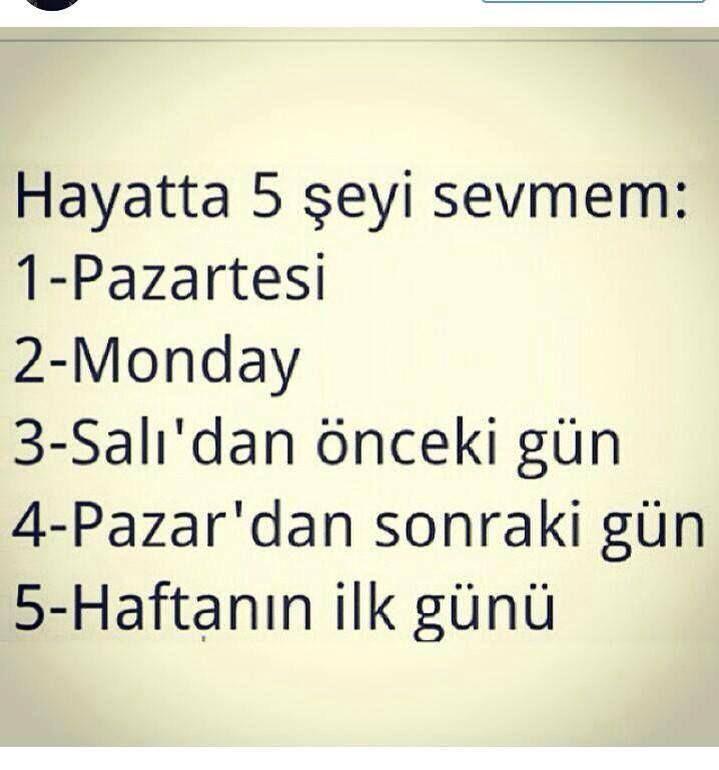 Hayatta 5 şeyi sevmem; 1-Pazartesi 2-Monday 3-Salı'dan önceki gün 4-Pazar'dan sonraki gün 5-Haftanın ilk günü