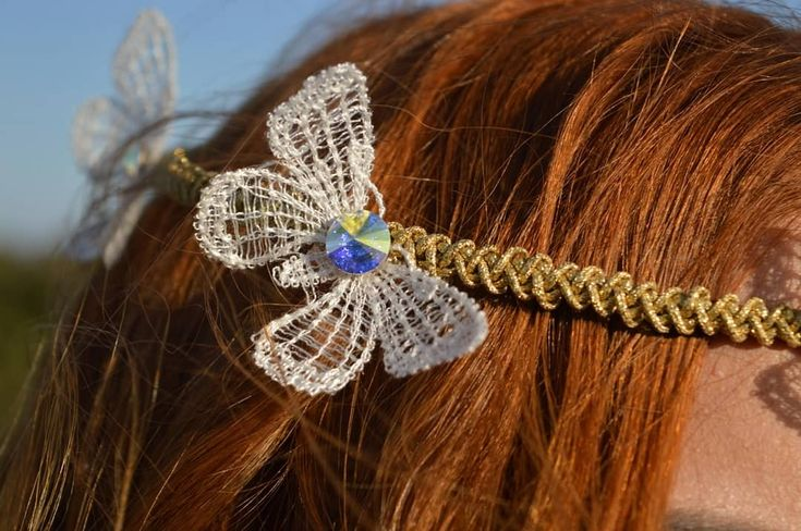 Romantic Crown handmade with Swarovski crystals and silk butterflies!