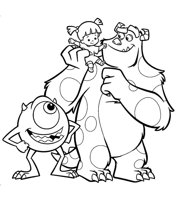 Mike wazowski and james p sullivan and boo monsters inc for Mike wazowski coloring page