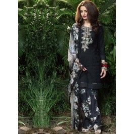 Surveen Chawla Black and Grey Multicolored Printed Patiala Suit