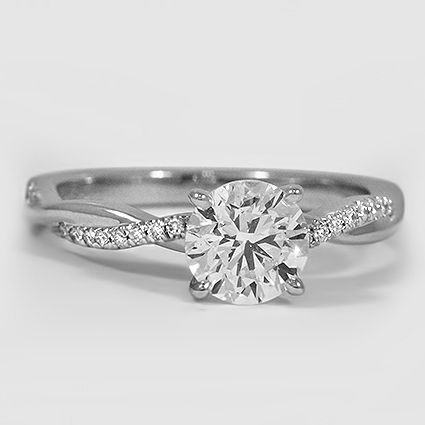 Platinum Twisted Vine Diamond Ring // Set with a 1.00 Carat, Round, Very Good Cut, F Color, VS2 Clarity Diamond #BrilliantEarth