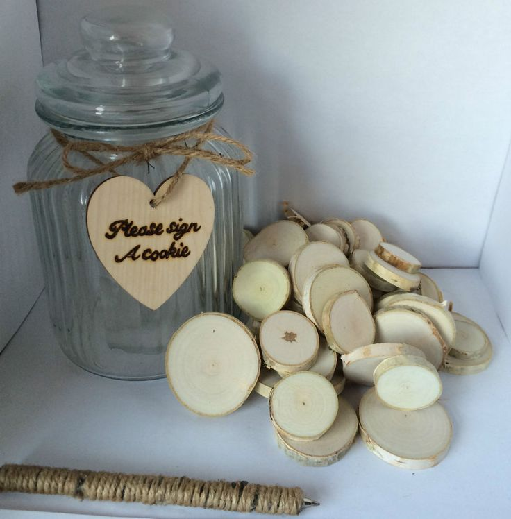 Personalised Vintage Guestbook Cookie Jar Alternative Rustic Wedding Wood Bark