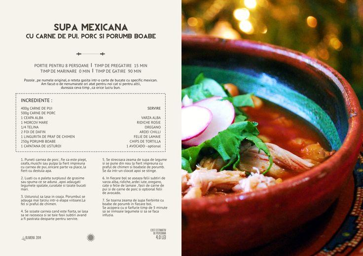 Supa mexicana cu carne de porc , de pui si porumb boabe