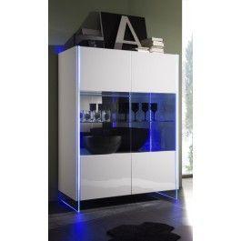 Vetrinetta soggiorno design struttura in vetro illuminato con LED rgb tutto laccato lucido - Art 1450 #madia #design #vetro #led #mobili #credenza #vetrina