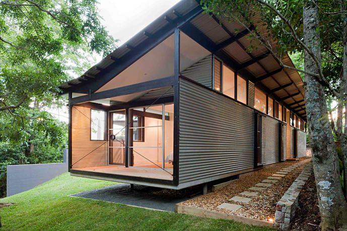 Galvanised. Floating floor, roofline, pavilion style