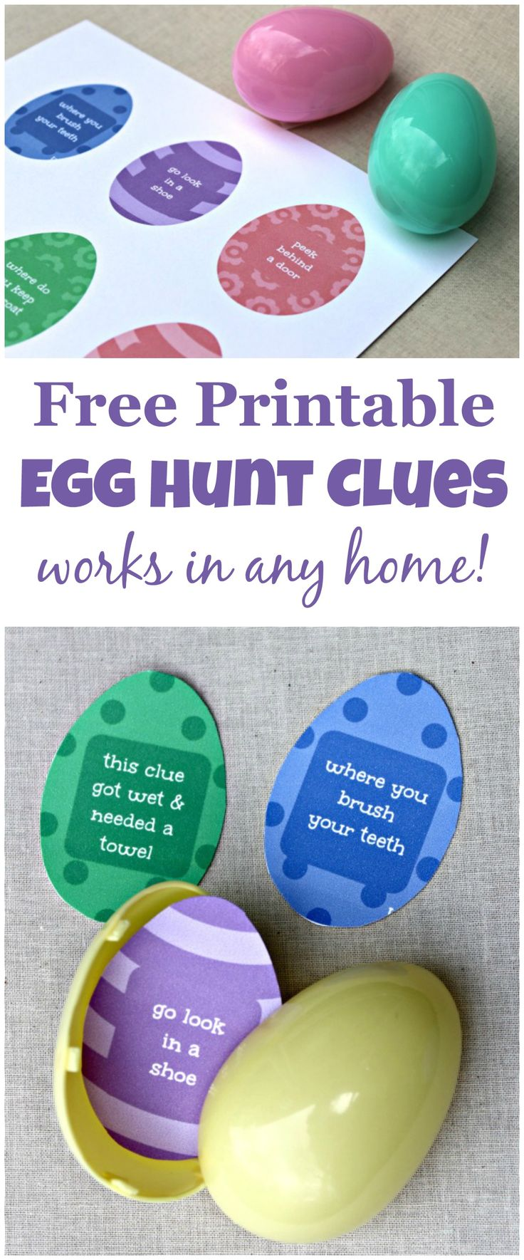 Love this Easter Egg Hunt idea that works in any home!  Free clues to use too.