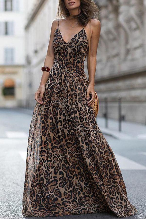 Sexy Leopard Print Sleeveless Vacation Dresses Brand Ebuytide SKU ASD30  Gender Women Style Elegant Sexy Fashion Type Maxi Dress Occasion ... 8416ae27d