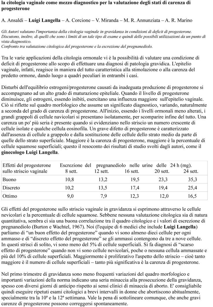 ciclo ovarico, studio di Luigi Langella