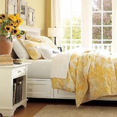 Sunny, happy yellow works very well in the bedroom, as long as its natural exuberance is toned down with other colors.: Yellow and White French Country