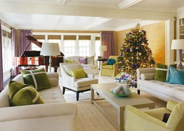 Jewel Tone Ornaments On The Christmas Tree Draw From Existing Color Scheme In Living Room