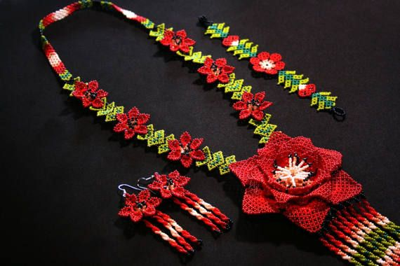 Huichol Jewelry Set Native American Beaded Necklace with