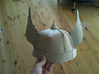 homemade thors hat - made from cereal boxes then painted - for owens halloween costume