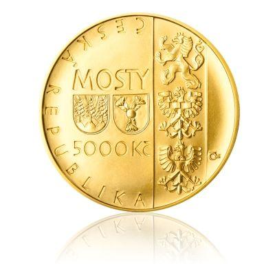 Zlatá mince 5000 Kč 2014 Jizerský most na trati Tanvald - Harrachov stand   Česká mincovna