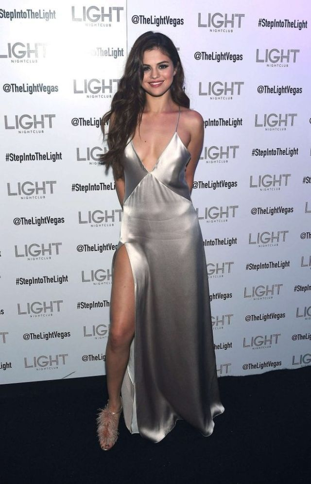 Splurge: Selena Gomez's Revival Tour Kick-Off After Party Galvan Silver Long Slip Dress