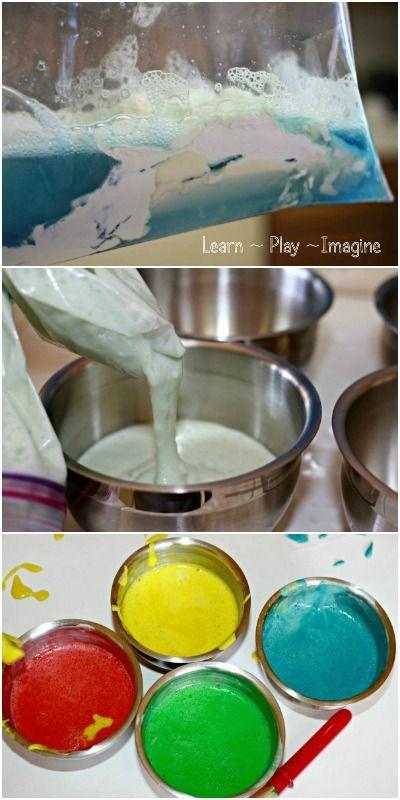 1-2 tazas de harina 1 taza de agua 1 taza de jabón para lavar platos colorante para alimentos o acuarelas líquidas