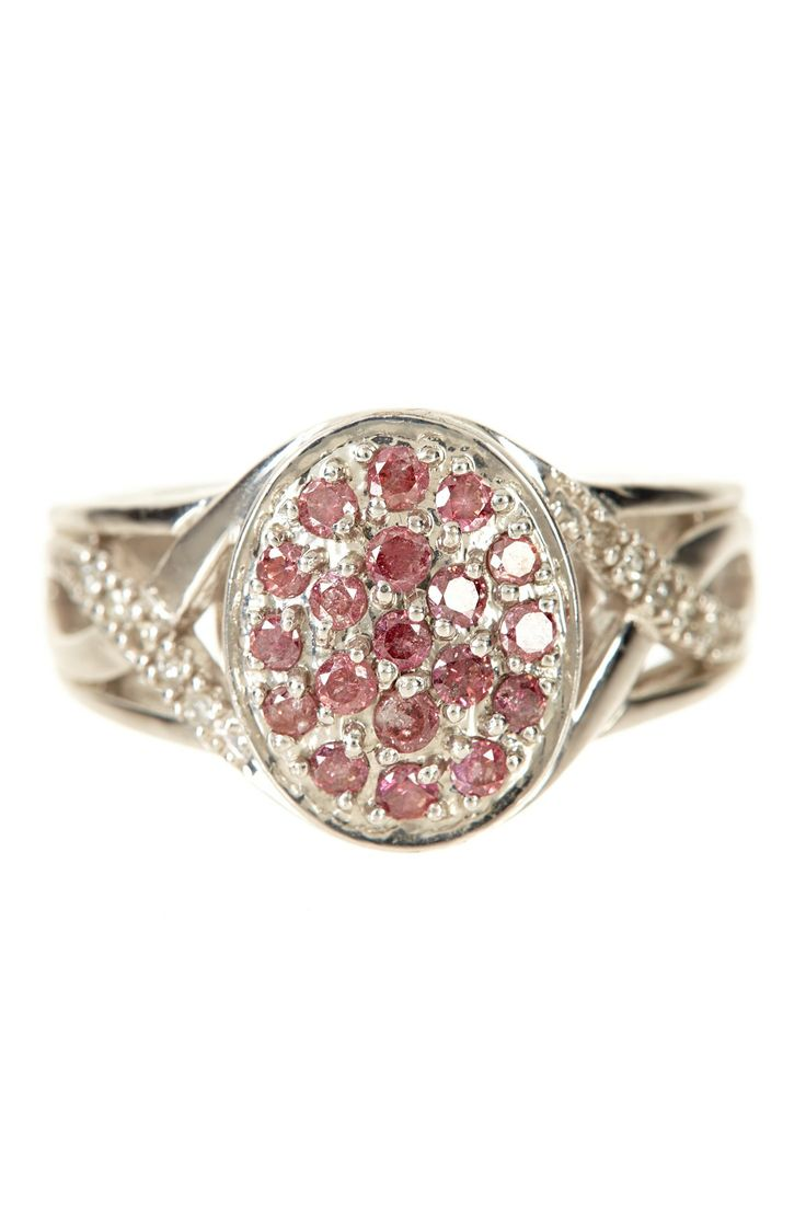 Pave Pink Diamond Deco Shank Oval Ring - 0.50 ctw