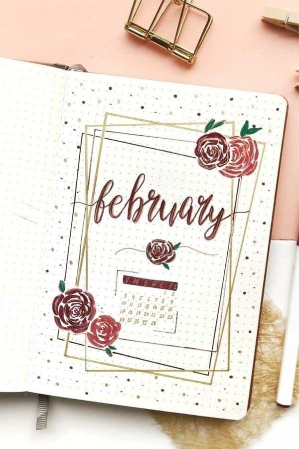 Bullet Journal Monatliche Cover-Ideen für Februar 2019 – #bullet #cover #february #ideas #journal