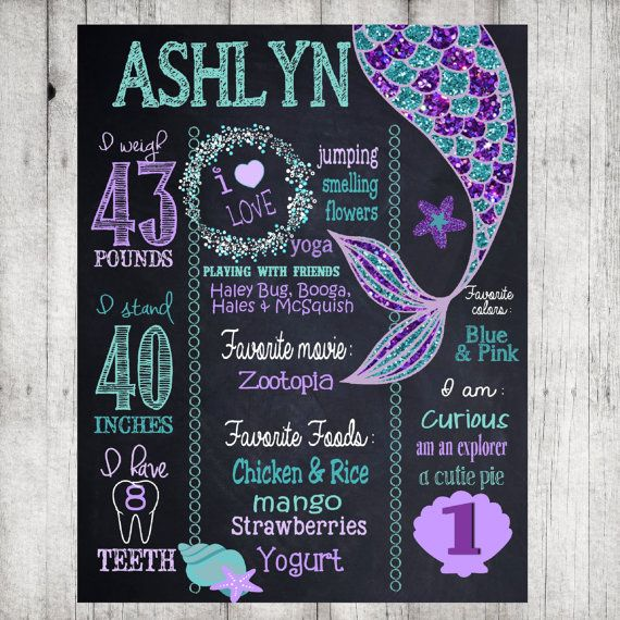 Mermaid birthday sign Mermaid birthday by MichelleRayeDesigns