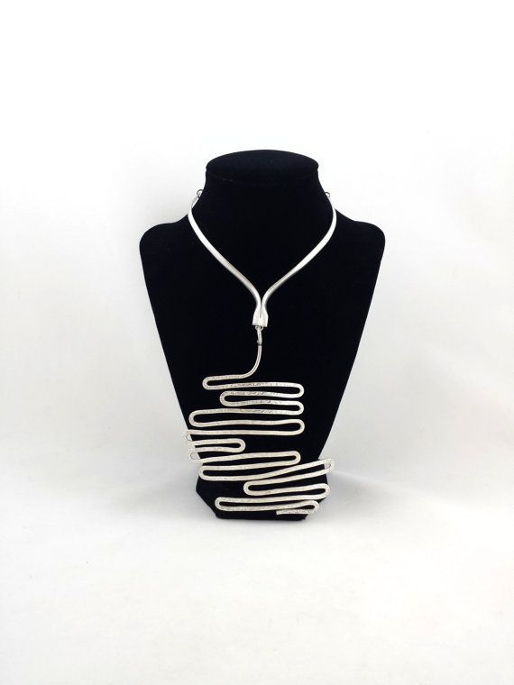 """Hattie Carnegie (AT/USA), extremely rare mid-century vintage silver plated large bib necklace, 1950s. 