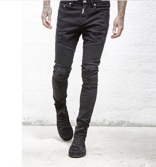 Представляют дизайнер одежды брюки slp синий / черный уничтожено мужские тонкий деним прямые байкер узкие джинсы мужчины рваные джинсы 28 38 купить на AliExpress