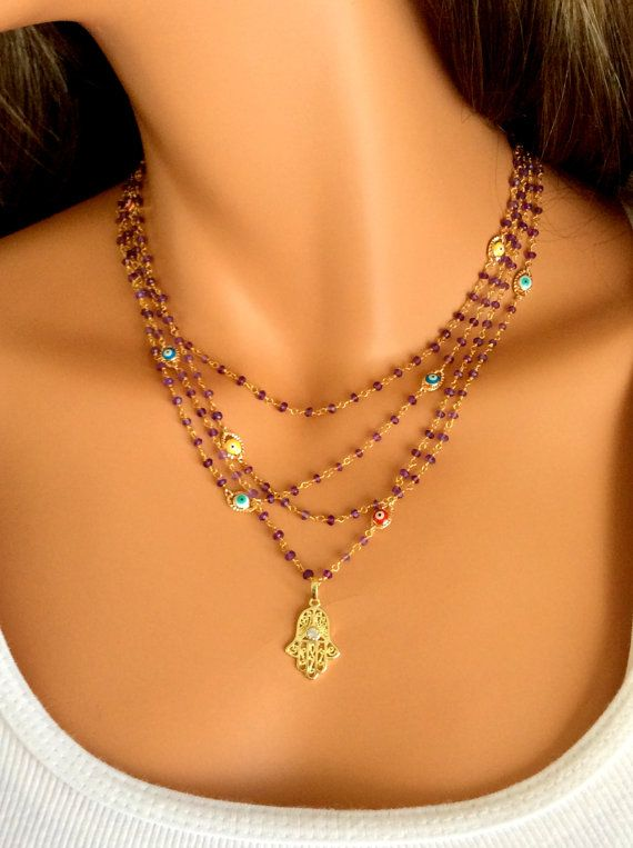 Hamsa Necklace Amethyst Gemstones Gold filled Hamsa and Evil Eye Pendant Rosary Necklace Multi Layer Real Housewives, $165.00