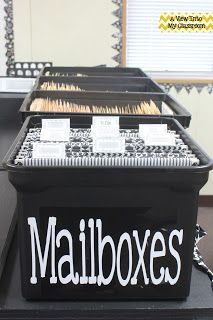 Student mailboxes - cover old green hanging folders with scrapbook paper and make them new again!