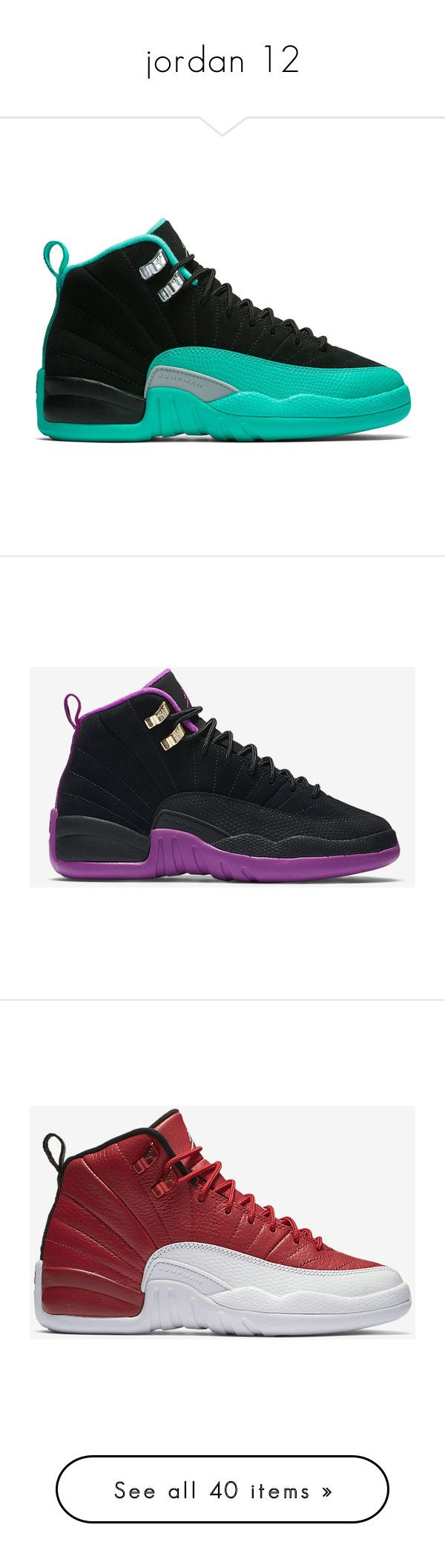 """jordan 12"" by doggydoddyfroggymoppy ❤ liked on Polyvore featuring shoes, jordan 12, jordans, sneakers, jordan, items, men's fashion, men's shoes, men's sneakers and mens retro shoes"
