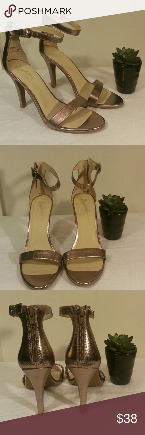 """NWOT Seychelles metallic heels!! These fabulous shoes are new without tags. Perfect condition!! Size 8. 4"""" heel. Zipper heel. Adjustable ankle strap.  Metallic color is a mix betweeb bronze, copper, and silver. Pairs well with a LBD! Seychelles Shoes Heels #silveranklestrapsheels"""