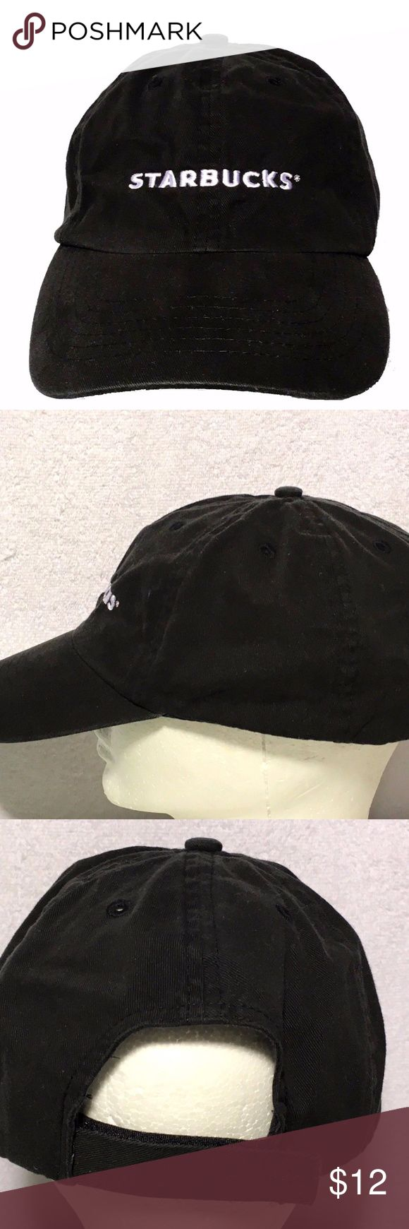 Starbucks Employee Embroidered Adjustable Hat Very good conditon employee hat from Starbucks. Adjustable. All black, all cotton. Made by Cintas for Starbucks employees. Please wash before wearing.  Shipping includes tracking number and delivery confirmation.  NO sales tax.  Thank you for viewing. cintas Accessories Hats