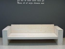 NIEUW Lounge bank steigerhout white-wash lengte 200cm