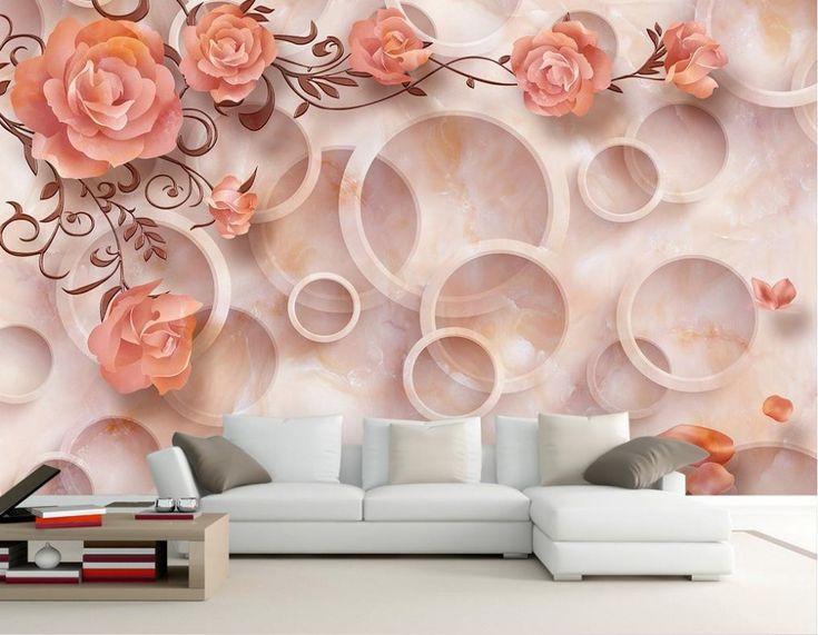 Papel de parede 3d flores 3d quarto papel de parede paisagem papel de parede 3d flores Decoração de Casa Em 3d estereoscópico wallpaper em Papéis de parede de Melhoramento Da casa no AliExpress.com | Alibaba Group