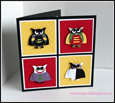 Batman punch art by Louise Sims at Stampin Delight www.stampindelight.co.uk -Owl Punch-