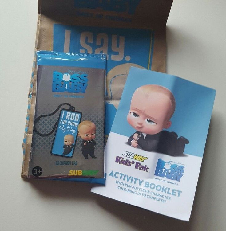 Subway KIDS Meal Toy The Boss Baby Backpack Tag and Activity Booklet Blue in Toys & Games, TV & Film Character Toys, Film & Disney Characters   eBay!