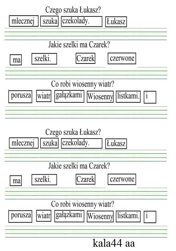 Rozsypanka wyrazowa-utrwalenie pisowni sz icz
