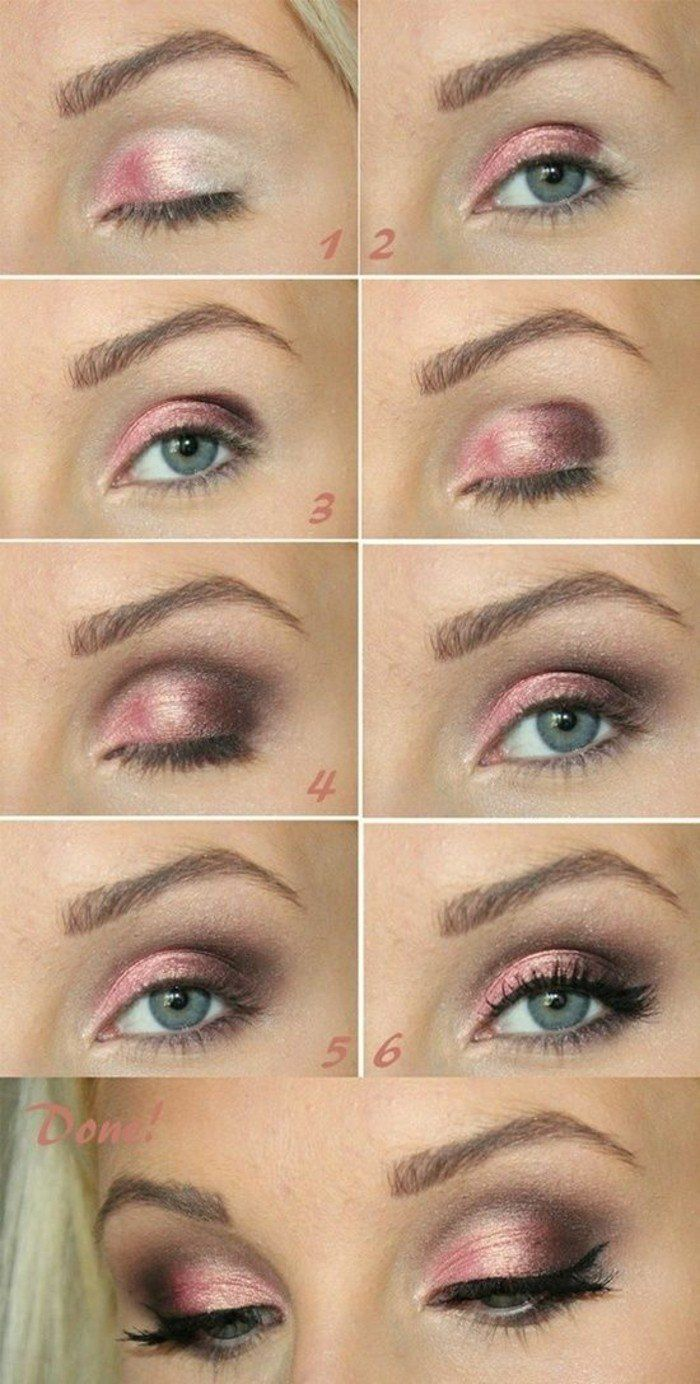 technique de maquillage yeux bleus, fard a paupiere en rose, maquillage soirée yeux bleus