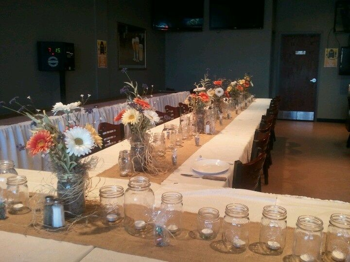 rehearsal dinner centerpieces | Rustic Rehearsal dinner decorations I did for ... | Kyle and Kerri'...