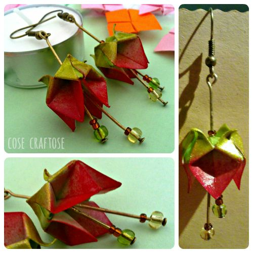 origami earrings (prototipo di orecchini a origami) - CoseCraftose
